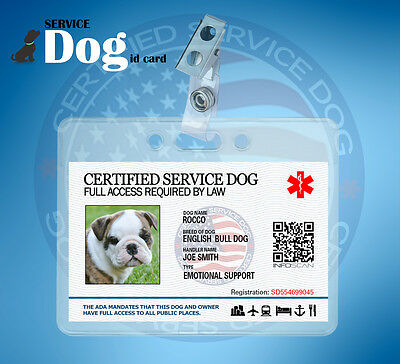 Certified Service Dog ID Card with Clear holder and Clip - ID BADGE ADA ESA