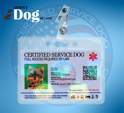 Holographic Service Dog Id Card For Medical Ptsd Animal Ada + Clip And Holder