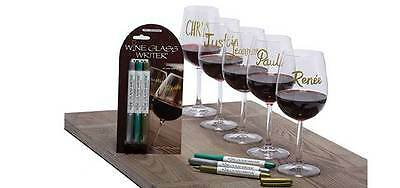 Wine Glass Writers Original Metallic Pack Markers Pen Set of 3 Gold Silver Green