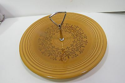 "Casualstone by Coventry Round Serving Plate With Handle 12"" Antique Gold Fiesta"
