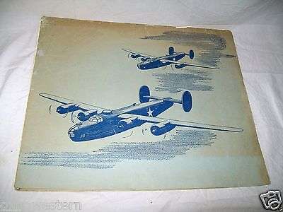 1940s CONSOLIDATED VULTEE WWII MILITARY AIRCRAFT LITHO SET B-24 FLYING JEEP C-87
