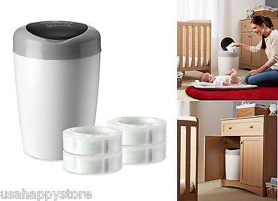 Diaper Pail Set With 4 Refill Cartridges Bags Baby Room Disposal Trash Can Lid