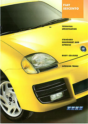 Fiat Seicento 2001 UK Market Specification Brochure Sporting SX S