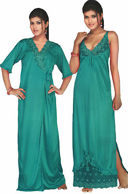 Designer Ladies Long Nightie Womens Nightwear Set Lace Satin Robe Gown 2 Pc  Set de4dc5ee9