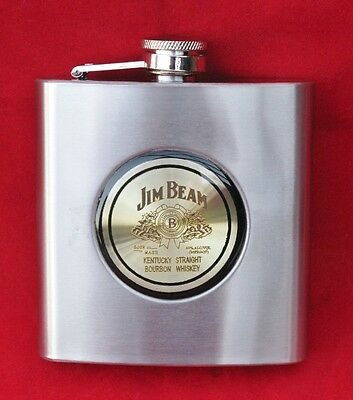 NIB Collectible Jim Beam Liquor Whiskey Hip 6 oz Stainless Steel Flask Groomsman