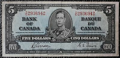 BANK OF CANADA - 1937 $5 NOTE - Prefix T/C - Signed Gordon & Towers - NCC