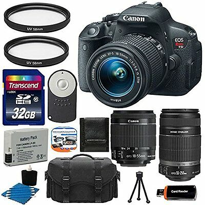 Canon EOS Rebel T5i 700D Body +18-55 STM +55-250 STM Lens Kit +32GB Card Top Kit