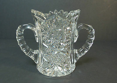 RARE 19th C. AMERICAN BRILLIANT PERIOD (ABP) CUT GLASS HANDLED SPOONER