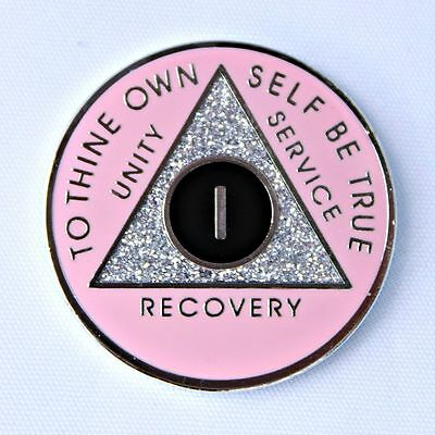 AA Medallion 1 Year Pink Silver Sparkle Recovery Token Sobriety Coin Chip