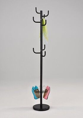 black finish coat hat purse jacket rack stand with shoe holder shipping include alba chromy hat coat stand