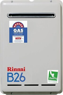 RinnaiB26 Continuous Flow Natural Gas Ext Hot Water Heater Preset to 50ºC