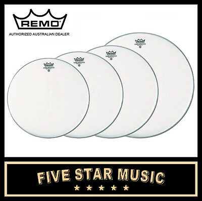 """Remo Emperor Coated 4Pce Drum Skin Fusion Plus Set 10"""" 12"""" 14"""" 16"""" Heads New"""