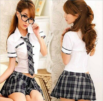 Sexy Women Lingerie England School Costume Cosplay Dress Uniform Chemise Outfit