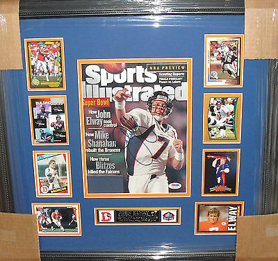 John Elway SIGNED Super Bowl SI Issue '84 RC Collage PSA 2014 SB XLVIII Broncos