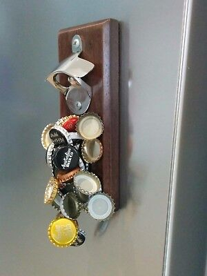 Magnetic Beer Bottle Opener, Gift for Dad, Stick to Fridge,Timber, Holds 30 caps