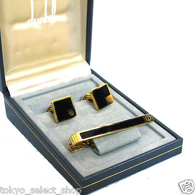 Authentic Dunhill Cufflinks & Tie Bar Clasp Clip Black Gold tone Set in Box