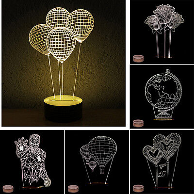 3D Night Light Pmma Carving LED Lamp w/ Wooden Base Table Lamp Room Decor Gift