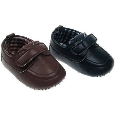 Baby Boy Pre-Walker PU Moccassain Shoe with  strap by Soft Touch