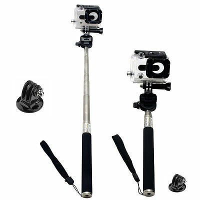 Gopro Hero 4 3+ 3 2 1 Monopod Pole Mount + Go Pro Tripod Adapter Selfie Stick