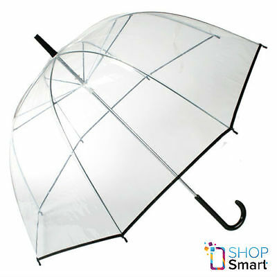 Clear Transparent Umbrella Black Trim Decoration Dome Rain Women Parasol New
