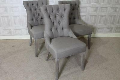 Button Back French Style Versailles Dining Chairs In Mushroom Grey