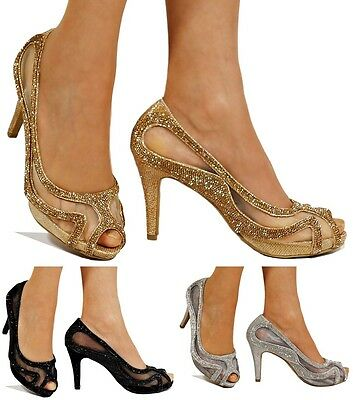 New Diamante Net See Thru Mid Heel Peep Toe Evening Bridal Court Shoes Size-A209