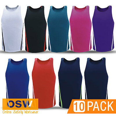 5 X ADULTS BREATHABLE MOISTURE REMOVAL SPORTS//CLUB//TOUCH//FOOTY//GYM SINGLETS