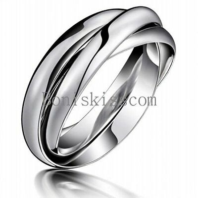 Silver Triple Interlocked Rolling High Polish Plain Dome Stainless Steel Ring