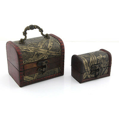 Antique Wooden Embossed Pattern Jewelry Box Case Pack of 2pcs