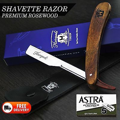 Wooden Barber Salon Straight Cut Throat Shaving Razor Shavette Rasoirs Rasoi F6