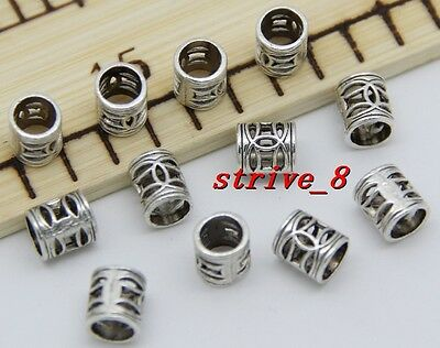 Lot 30/100/500pcs Antique Silver cylindrical Beads Charms Spacer Beads DIY 7x6mm