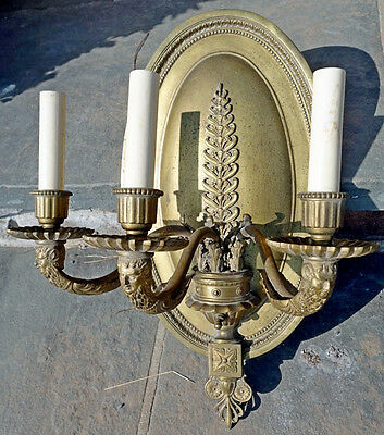 Vintage Antique French Neo-Classical Cast Brass 3 Arm Sconce - L@@K!!!