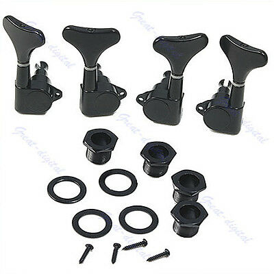 4 String Bass Black Guitar Sealed Tuners Tuning Pegs Machine Heads 2R 2L