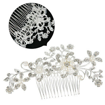 Wedding Bridal Tiara Bride Hair Comb Pearls Rhinestone Flower Vintage Headpiece