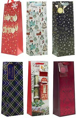 Set of 6 Christmas Wine Bottle Gift Bags with Tags - Traditional Scenic Designs