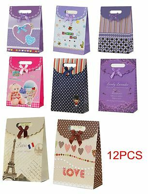 12 X New Party Supplies Bowknot Gift Paper Bags Wedding Xmas Candy Handle Bag