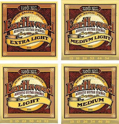 Ernie Ball Earthwood 80/20 Bronze Acoustic Guitar Strings  - Choice of 7 Gauges