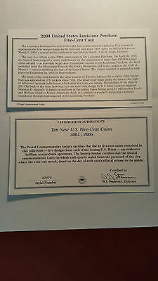 (10) New 2004 - 2005 - 2006 Five Cent Coins First Day Covers with Coins