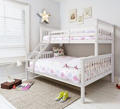 Triple Sleeper Bed, Bunk Bed, Double Bed in White Hanna Kids