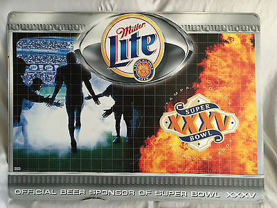Pre-Owned 2001 Miller Lite-Super Bowl Xxxv Nfl Bar Metal Sign (Ravens & Giants)