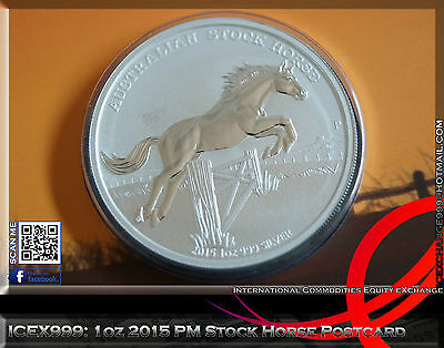 1oz 2015 Perth Mint Stock Horse Postcard - Only 1000 Worldwide