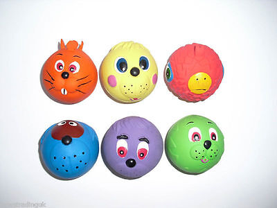 6 x squeaky dog toys Latex Faceball Tennis ball Sized Face Soft Ball puppy
