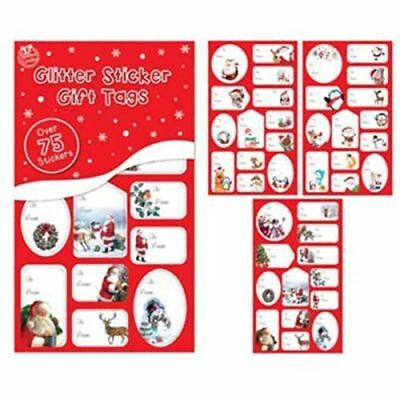 100 Christmas Sticker Gift Tags Red Glitter Foil Silver Gold Labels Xmas Present
