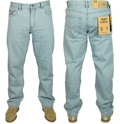 Mens Forge Jeans Heavy Duty Casual Smart Work Wear Simple Light Wash Blue 30-60