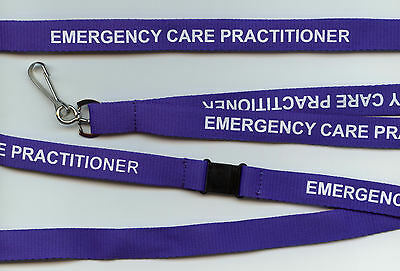 SALE! 1 x Blue 'EMERGENCY CARE PRACTITIONER' Safety Lanyards: FREE UK P&P
