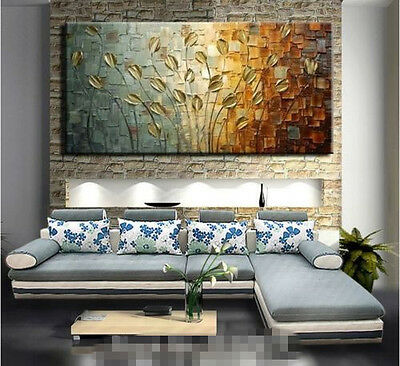 """MODERN ABSTRACT HUGE WALL ART OIL PAINTING ON CANVAS-Knife tree 48"""" (no framed)"""
