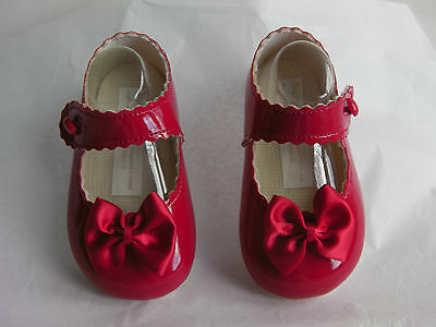 Baby Girl Bay Pods Soft PU Special Occasion Formal Dress Shoe with toe bow RED