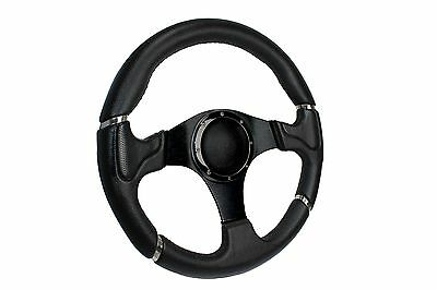 BLACK MILLENIUM SPORTS STEERING WHEEL 350mm 6x70mm fits Momo OMP boss kit