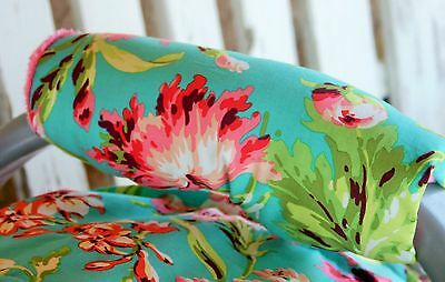 infant car seat carrier handle cushion teal and pink flowers with coral minky