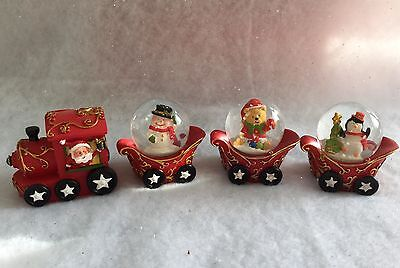 Father Christmas Snow Globe Train with carriages Novelty Decoration Waterball